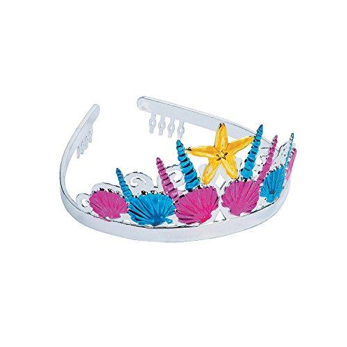 Fun Express - Mermaid Tiara - Apparel Accessories - Hats - Tiaras & Crowns - 12 Pieces Silver