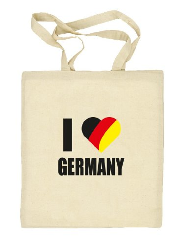 Shirtstreet24, EM/WM 9 - I LOVE GERMANY, Fußball Natur Stoffbeutel Jute Tasche (ONE SIZE) Natur