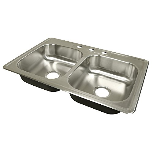 Prime-Line MP52010 Kitchen Sink, 33 in. x 22 in. x 6 in, Stainless Steel, Double Bowl, 3-Hole, Pack of 1