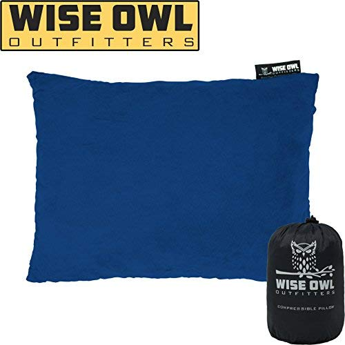 Wise Owl Outfitters Camping Pillow Compressible Foam Pillows - Use When Sleeping in Car, Plane Travel, Hammock Bed & Camp - Adults & Kids - Compact Small & Large Size - Portable Bag - LG Blue