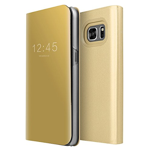 Galaxy S7 Case, AICase Luxury Translucent View Window Front Smart Sleep/Wake Up Function Mirror Screen Flip Electroplate Plating Stand Full Body Protective Case for Samsung Galaxy S7 (Gold)
