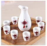 Brand New Ceramic bar set hip flask maotai sub wine liquor cup shot glass small handless winecup wine Chinese knot
