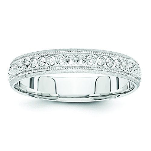 14k White Gold 3mm Design Etched Wedding Band, Size 6