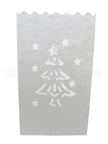 CleverDelights White Luminary Bags - 10 Count - Christmas Tree Design - Flame Resistant Paper - Christmas Holiday Outdoor Decorations - Party and Event Decor - Luminaria Candle Bag - Ten Bags