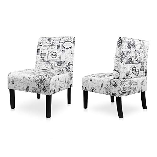 AODAILIHB Armless Accent Chair Modern Fabric Printing Leisure Chair Single Sofa Deco Living Room Bedroom Office Armless Chair (Map 2Pcs)