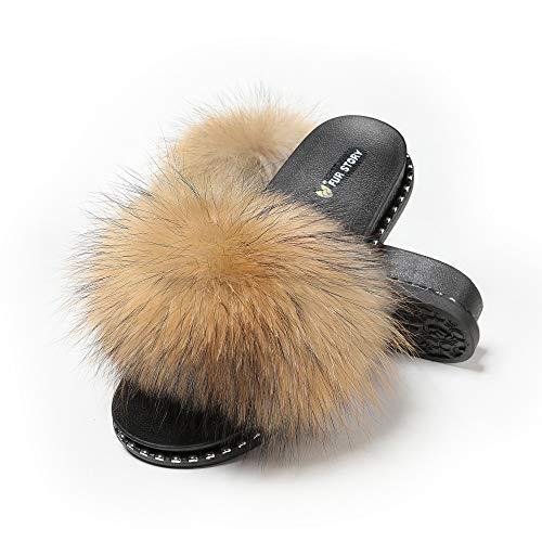 (Fur Story Women's Fox Fur Slides Furry Slide Sandal(7,Raccoon,Rivet))