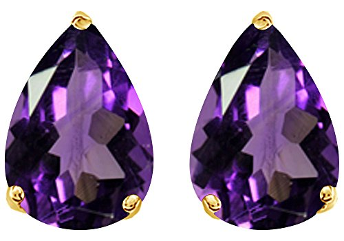 Simulated Violet Amethyst Pear Shape Stud Earrings In 14K Yellow Gold Over Sterling Silver (6 Ct) ()