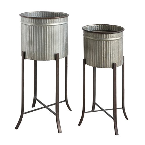 Creative Co-op Set of 2 Iron Planters on Stands (Creative Stand)