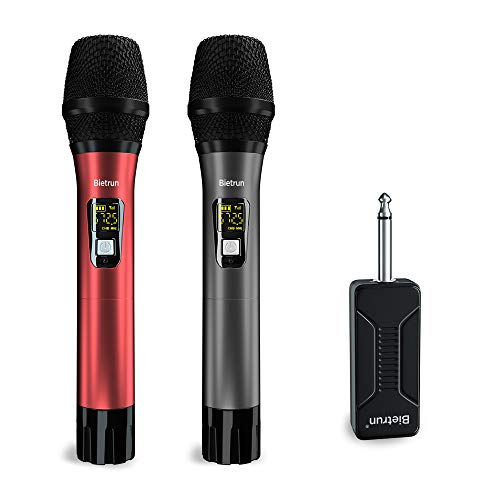 Wireless Microphone, UHF Wireless Dual Handheld Dynamic Mic System Set with Rechargeable Receiver, 260ft Range, 6.35mm(1/4'') Plug, for Karaoke, Voice Amplifier, PA System, Singing Machine, Church (Best Pa Systems For Singers)