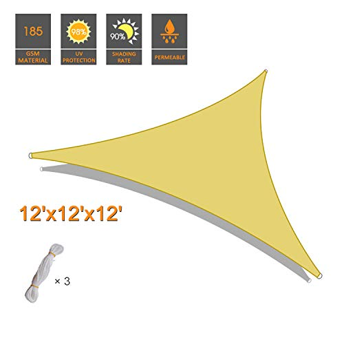 INVECH 12' x 12' x 12' Triangle Sand UV Block Sun Shade Sail, Perfect for Outdoor Patio Garden by INVECH