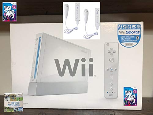 Nintendo Wii Console Bundle with Just Dance 3, Wii Sports & 2 Controllers (Best Wii Console Bundle)
