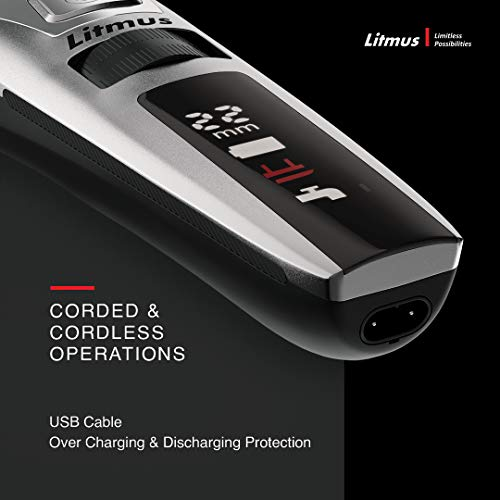 LITMUS Stubble Pro Corded and Cordless Waterproof Beard Trimmer with Digital LED Display and Fast Charging, 60 Mins Run Time (Black and Grey)