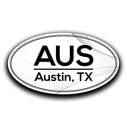 d4c0f4ba42 Amazon.com  More Shiz AUS Austin Texas Airport Code Decal Sticker Home  Travel Car Truck Van Bumper Window Laptop Cup Wall - Two 5.5 Inch Decals -  MKS0542  ...
