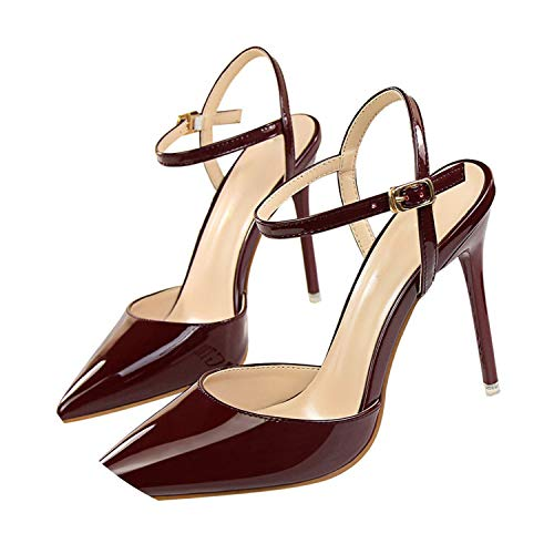 Yiwu Fuchen1 2019 Women Concise Fashion Ankle Strap Shoes Pointed Toe Thin Buckle Slingbacks Pumps High Heels,5.5 Wine Red