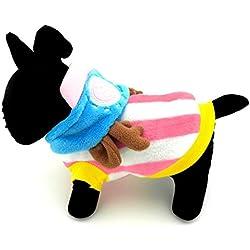 SMALLLEE_LUCKY_STORE Petmall Dog Cat Warm Flannel Chopper Hoodies Jacket Halloween Costume, Medium, Pink