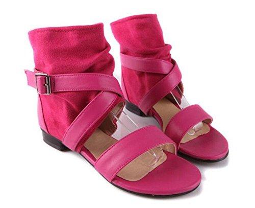 GLTER Sandalias de mujer Hebilla de cinturón Cool Botas Bombas Suede Sandalia Tacones altos Roman sandal Court shoes red