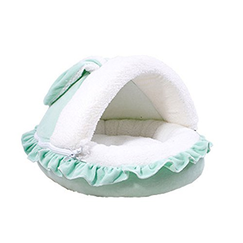 Saymequeen Cute Rabbit Ears Cat Pet Bed Cave Indoor Cushion Mat House for Small to Medium Size Dogs (L, green) Review