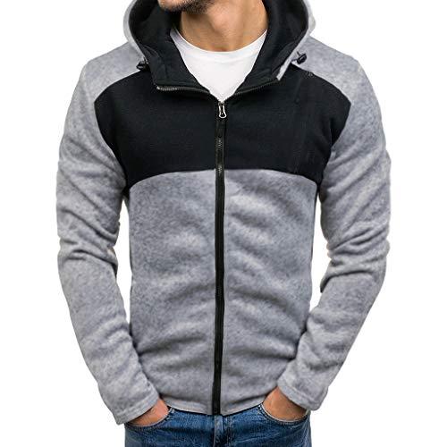 TUSANG Mens Hoodies Sweatshirts Splicing Button Pullover Long Sleeve Hooded Sweatshirt Slim Comfy Tops Blouse(Gray,US-8/CN-L)