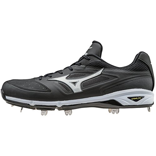 Mizuno Dominant IC Adult Men's Low Cut Metal Baseball Cleats - Black & White (Men's Size 10.5)