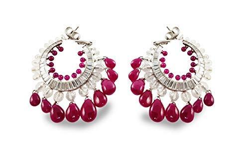 (Adastra Jewelry 925 Sterling Silver Dangle Earrings for Women (AAAAA (VVS D) Clarity), 50mm(2in) Baguette, Pear drop Pink Hoop Earrings)