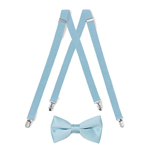 Suspender & Bow Tie Set (Adult, Light Blue)