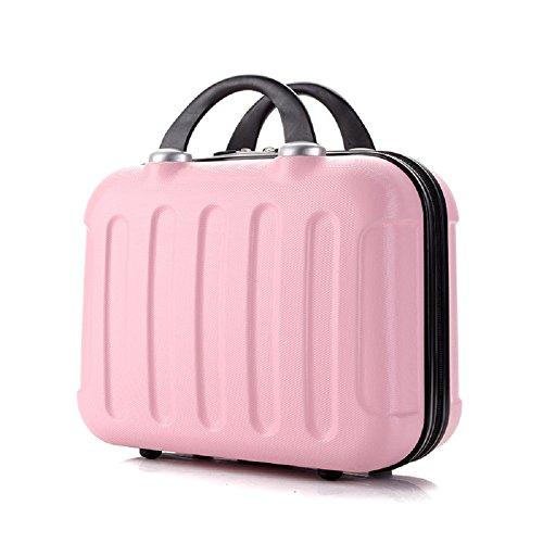 Bysn 14 inch Makeup Case Women Cosmetic Carrying Case ABS Hard Shell Mini Suitcase for Travel Pink (Suitcase Mini)