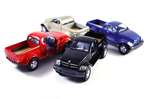 HCK Set of 4 Classic Dodge Power Wagon - Pull Back Toy Trucks Cars 1:42 Scale (Black/Red/Blue/Champagne) ()