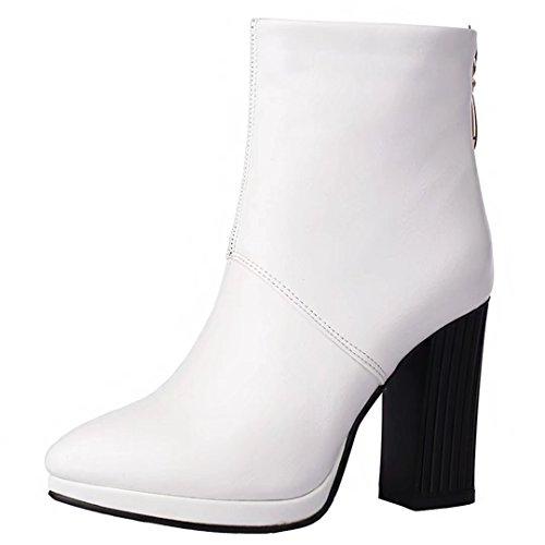 Aiyoumei Mujeres Pointed Toe Block Botines De Tacón Cremallera Trasera Otoño Invierno Solid Botines Blanco