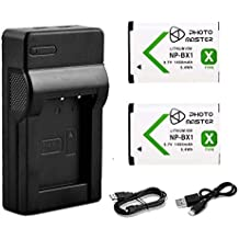 PHOTO MASTER NP-BX1 Battery + USB Charger for Sony Cyber-Shot HDR-AS10 AS15 AS30V AS100V AS100VR CX240 MV1 PJ275 DSC-H400 HX50V HX300, HX400 RX1 RX1R RX100 II III RX100M2 RX100M3 WX300 WX350