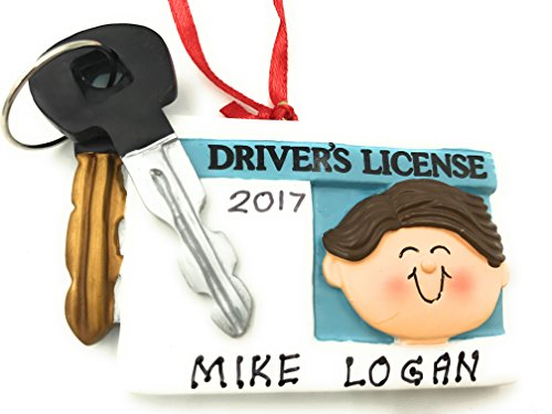 New Driver License Male Brown Christmas Ornament 2019 (Best New Drivers 2019)