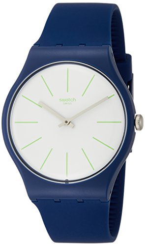 Swatch Originals Bluesounds White Dial Silicone Strap Men's Watch SUON127 (Original Men Swatch Strap)