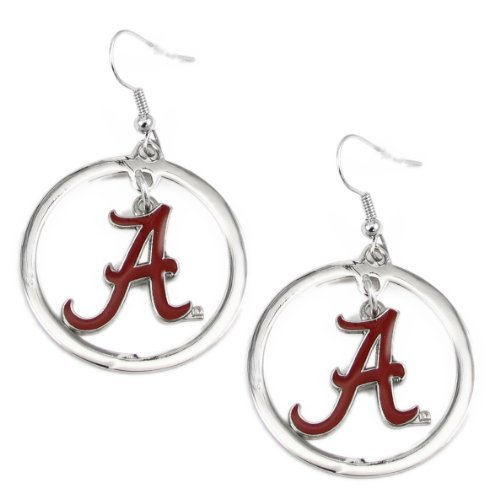 NCAA Alabama Crimson Tide Floating Logo Hoop Earrings