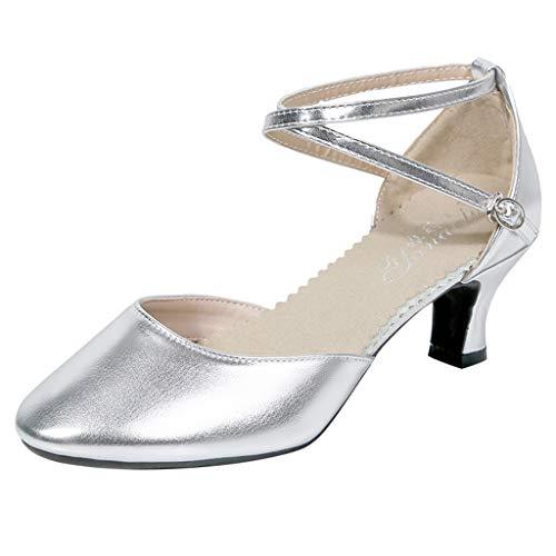 (LOVOZO Women Fashion Dancing Rumba Waltz Prom Ballroom Latin Salsa Dance Shoes Sandals Silver)