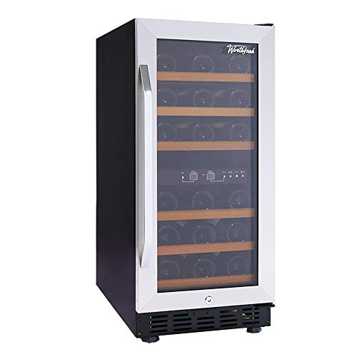 - Worthyeah 15 Inch Wine Cooler Dual Zone Built-in or Freestanding Compressor Wine Refrigerator with Double-Layer Tempered Glass Door,Child Safety Lock and Compressor Protection Grid