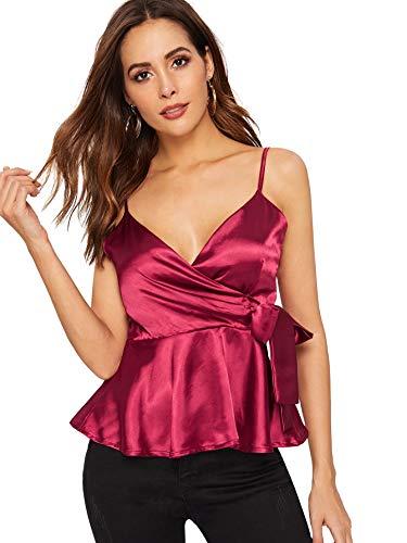 SheIn Women's Sexy V Neck Satin Warp Ruffle Hem Sleeveless Peplum Blouse Cami Top Tank Large Burgundy ()