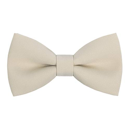 Classic Pre-Tied Bow Tie Formal Solid Tuxedo, by Bow Tie House (Large, Ivory)