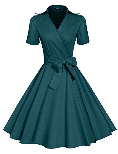 acevog-womens-deep-v-neck-short-sleeve-bow-belt-vintage-classical-casual-swing-dress