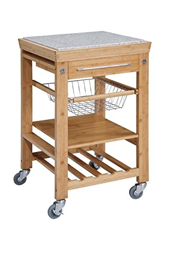 Bamboo Kitchen Cart with Inlaid Granite Top