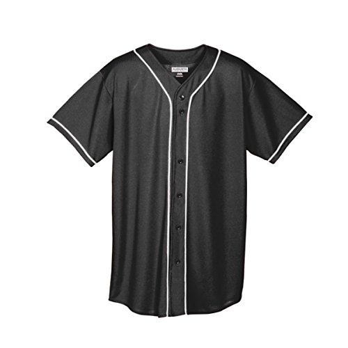 Augusta Sportswear MEN'S WICKING MESH BUTTON FRONT BASEBALL JERSEY WITH BRAID TRIM 3XL Black/White ()