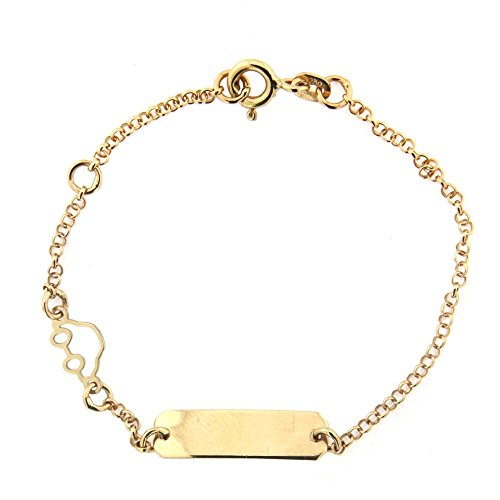 18K Yellow Gold Rollo chain Open Car Id Bracelet 5.5 inches with extra ring at 4.5 inches by Amalia