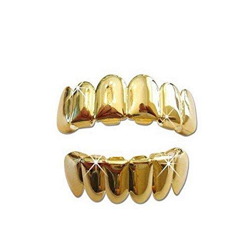 Captain Crafts Gold Plated Hip Hop Teeth Grillz Caps Top Bottom Teeth Set (Gold) - Cheap Gold Teeth Caps