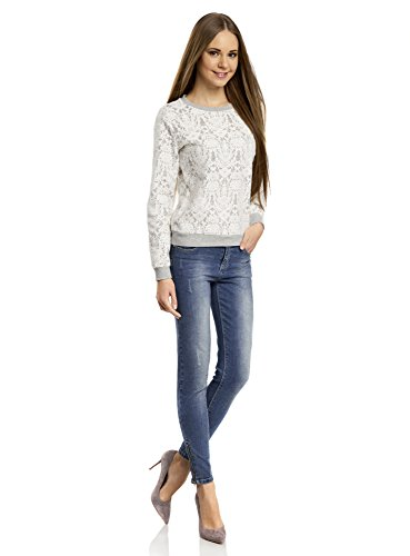 oodji Ultra Mujer Suéter Decorado con Encaje Blanco (1220L)