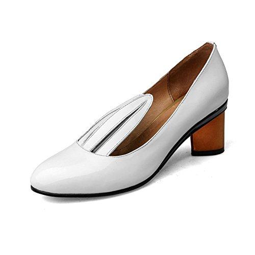 Nine Seven Cuero Moda Puntera Redonda Zapatos de Tacón Grueso para Mujer blanco