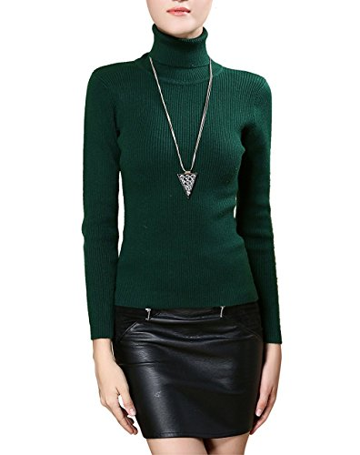 Easier Women's Cashmere/Lyocell Stretchy Turtleneck Long Sleeve Knit Pullover Sweater,Darkgreen,L