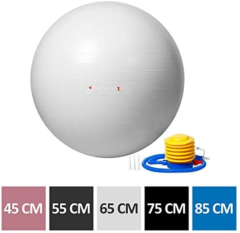 Yoga Exercise Ball by Day 1 Fitness Available in 5 SIZES 45-85cm with Foot Pump, Resists up to 2200lbs – Extra-Thick, Anti-Burst Stability Ball for Pilates, Desk Chair, Birthing – Heavy-Duty