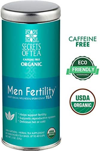 Secrets of Tea-Male Fertility Tea-Aphrodisiac Testosterone and Libido booster tea for men with Ashwagandha, Horny Goat Weed and Ginko- USDA Organic- Delicious Hot or Cold- 40 Cups