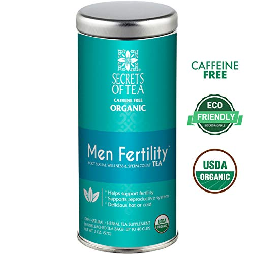 Secrets of Tea-Male Fertility Tea-Aphrodisiac Testosterone and Libido  booster tea for men with Ashwagandha, Horny Goat Weed and Ginko- USDA  Organic-