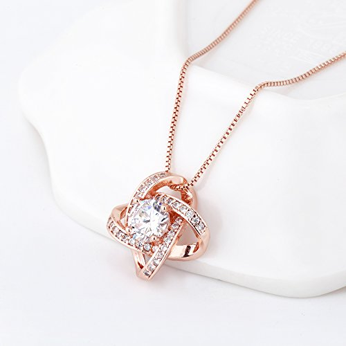Crystal Jewelry Set for Women - Elegant Rose Gold Jewelry Set for Wedding Bridal Crystal Cubic Zirconia Love Knot Pendant Necklace Earrings for Party Prom Valentine's Day Fashion Jewelry Gift Set by AMYJANE (Image #3)