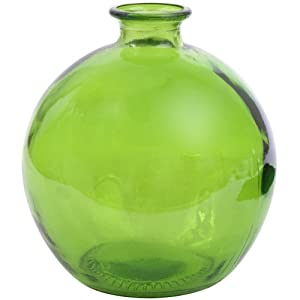 Amazon Com 6 3 4 Quot Tall Lime Green Recycled Glass Ball Vase 66oz Made In Spain Home Amp Kitchen
