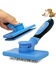 Pet Craft Supply Self Cleaning Grooming Slicker Pet Brush for Cats and Dogs Short Long Haired Fur Small Medium Large Metal Pin Bristle Comb Undercoat DeShedding DeMatting Detangler Puppy Kitten